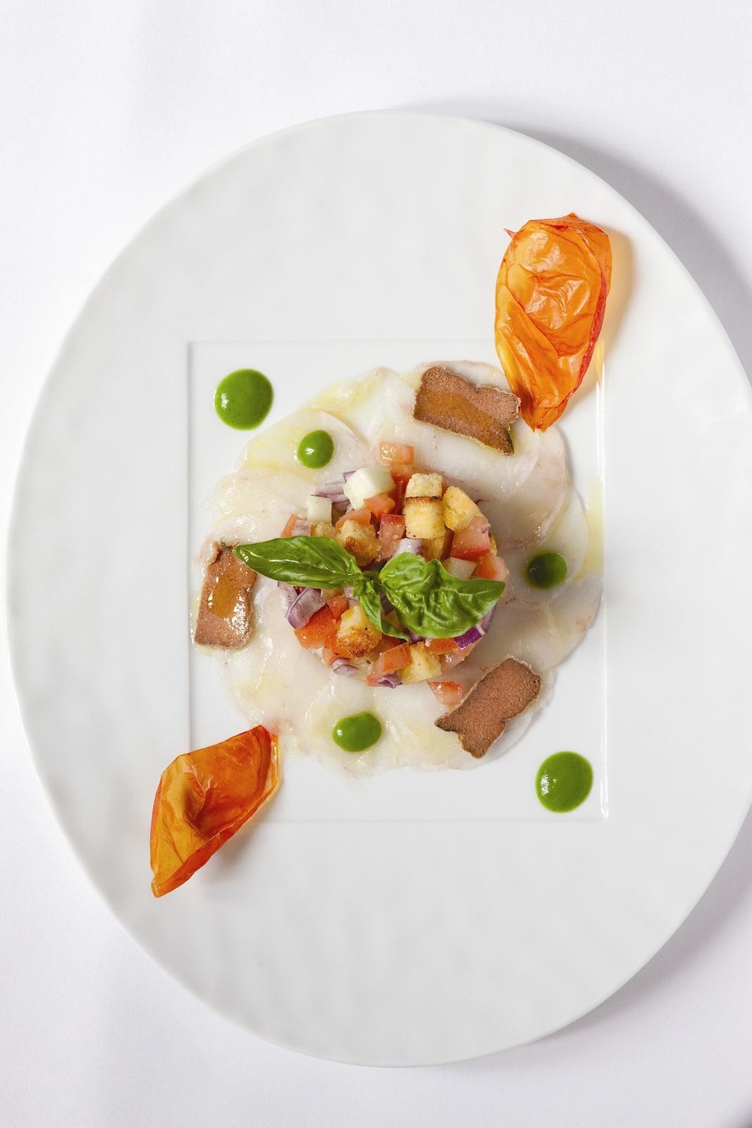 Carpaccio of monkfish with bottarga and Tuscan Panzanella salad