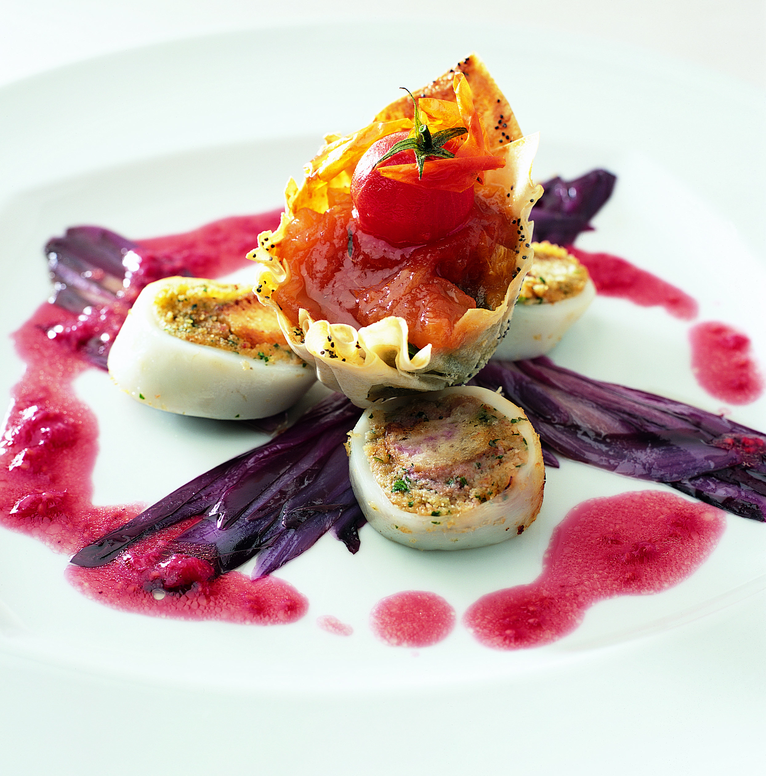 Stuffed squid with sweet and sour red chicory, tomato jam